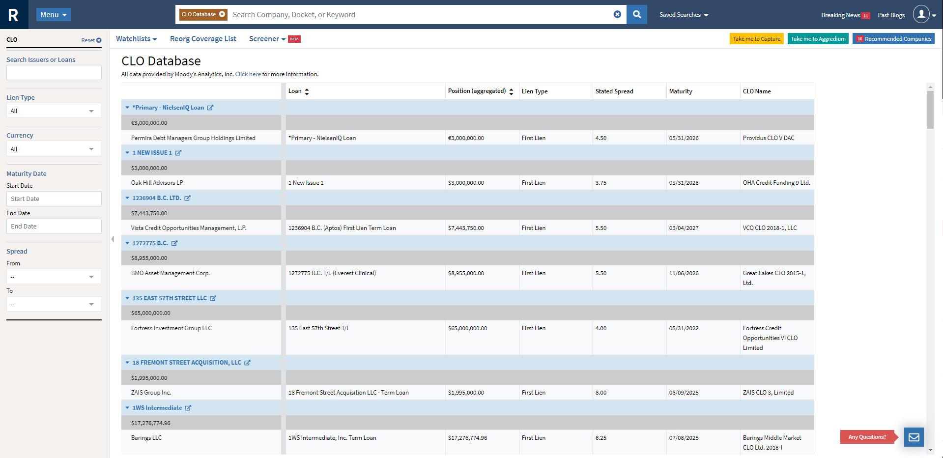 CLO database screenshot