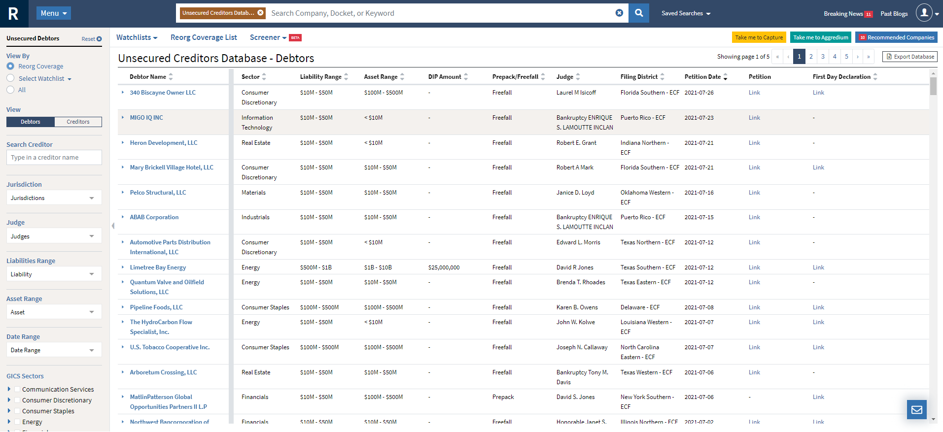 unsecured creditors database screenshot