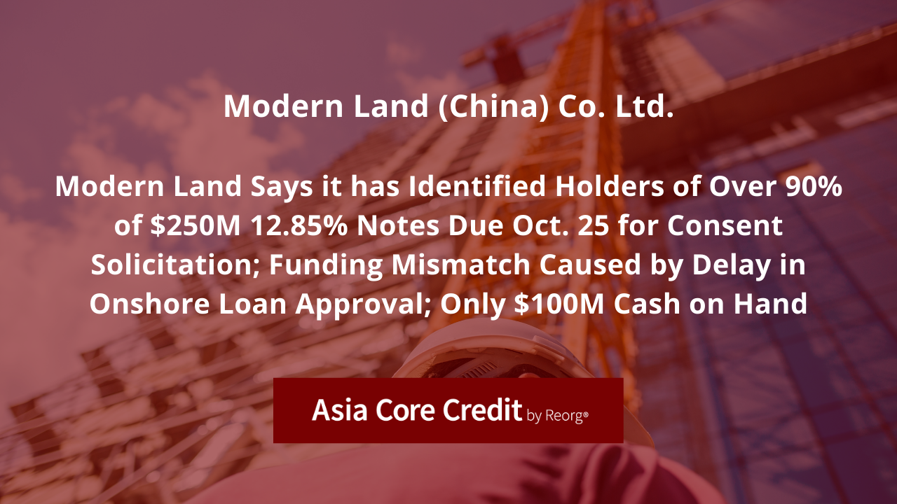 Reorg's Asia Core Credit Reports on Modern Land Bondholder Call